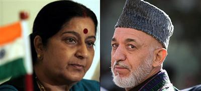 Sushma Swaraj arrives in Afghanistan, helds talks with Afghan Prez Karzai