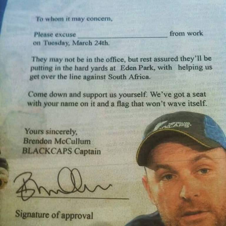 McCullum writes to offices to grant leaves to employees for WC semifinal