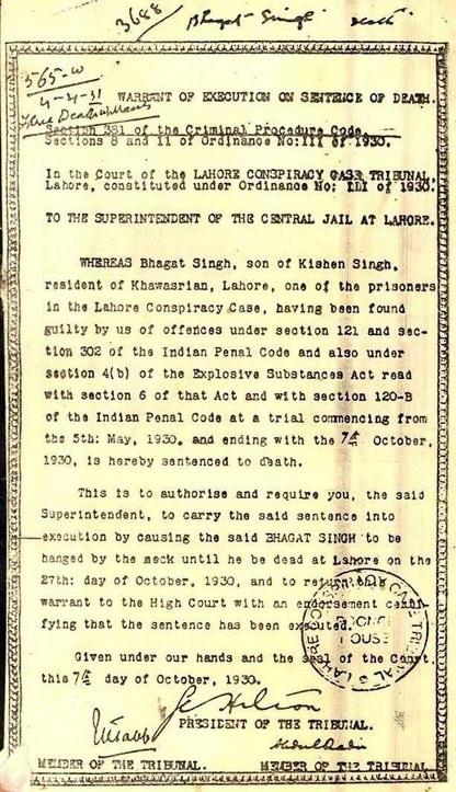 Bhagat Singh's death warrant on his 84th martyrdom anniversary