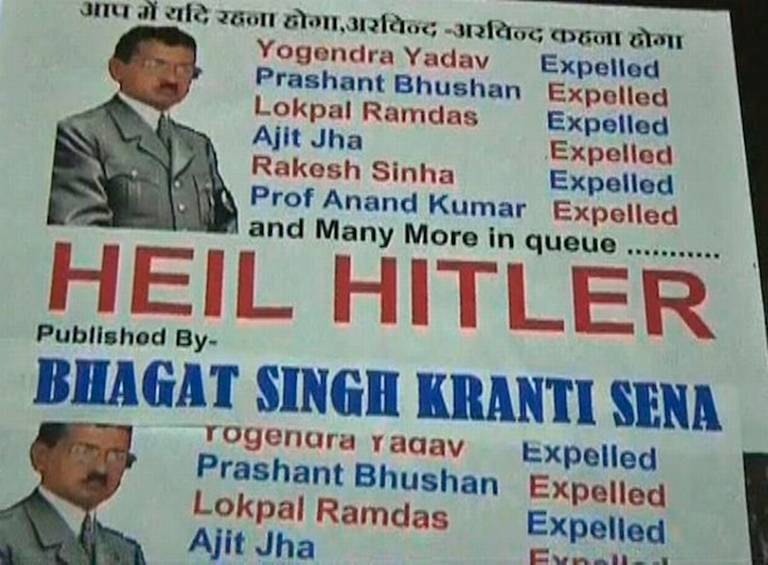 compares Aam Aadmi Party chief Arvind Kejriwal with Hitler