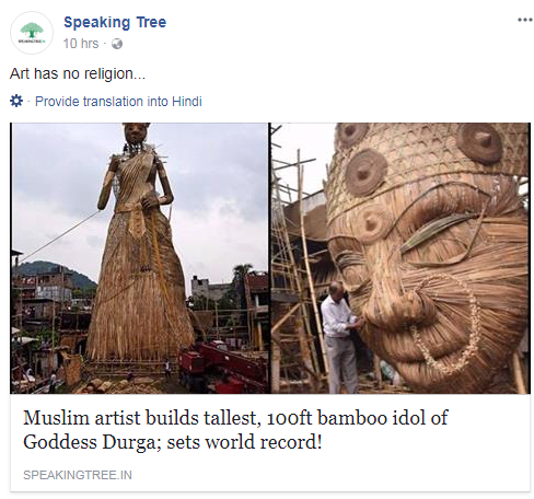 Speakingtree got trolled on social media for there Pseudo-Secular post