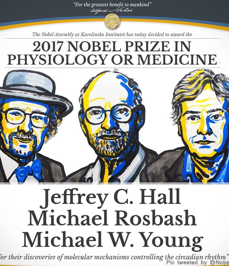 US geneticists Jeffrey C Hall, Michael Rosbash & Michael W Young  awarded with  Nobel Medicine Prize 2017